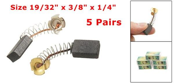 "Купить с кэшбэком High Quality 10Pcs/5 pair 15x10x6mm / 19/32"" x 3/8"" x 1/4"" Electric Drill Motor Rotary Power Tool Carbon Brush 40mm/1.57"" Length"
