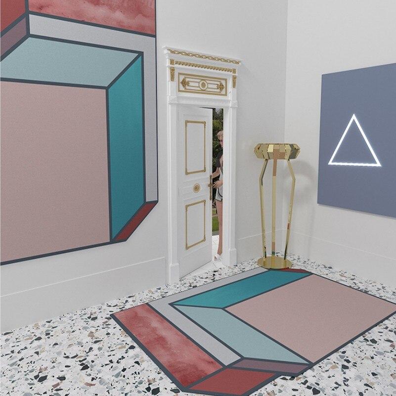 Tapis géométrique nordique salon Table basse en forme de tapis tapis couleur tapis mode personnalité en forme de tapis tapis de sol - 6