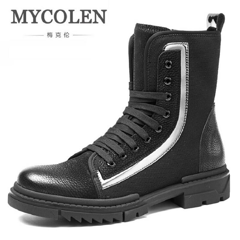 MYCOLEN Winter Men Martin Boots Casual Round Toe Motorcycle Flats Boots Autumn Comfortable Man Shoes Botas De Cuero De Hombre mycolen new autumn winter men black casual shoes men high tops fashion hip hop shoes zapatos de hombre leisure male botas