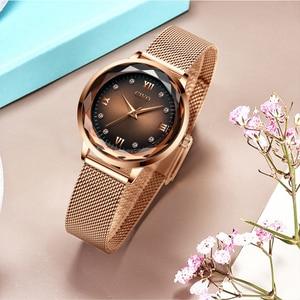Image 3 - Moda feminina relógios 2019 civo à prova dwaterproof água rosa ouro aço malha cinta de quartzo relógio feminino marca superior senhoras relógio relogio feminino
