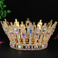 High end Handmade Bridal Wedding Party Crowns Tiaras Pageant Beauty Crystal Full Round Crown Hair Accessories Bride Headpieces