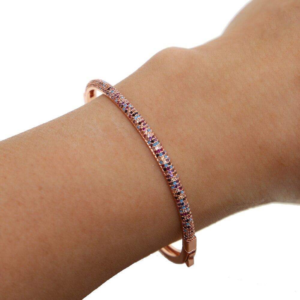 Luxus klassische mode rose voll cz steine armband manschette armreif frauen mädchen wunderschöne charming großhandel marke schmuck