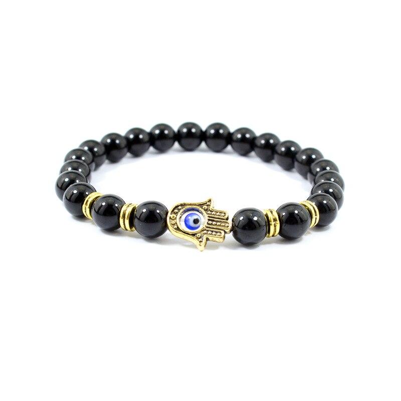 Xueka 2017 New Fashion Men Bracelet Hamsa Hand Lava Onyx Matte Stone Beads Charm Bracelets Best Friend Jewelry Gift