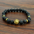 Antique Gold Silver Leo Lion Head Buddha Bracelets Fashion Black Lava Stone Beaded Bracelet For Men and Women Best Friend Gifts