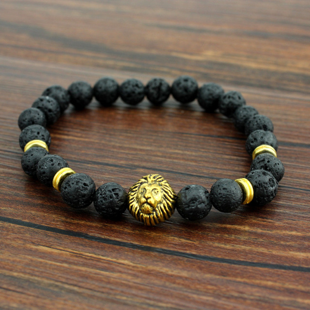 a9fcb4d0ee Antique Gold Silver Leo Lion Head Buddha Bracelets Fashion Black Lava Stone  Beaded Bracelet For Men and Women Best Friend Gifts