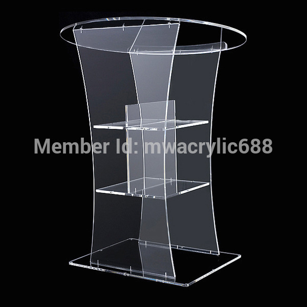 Free Shipping Transparent Modern Design Cheap Clear Acrylic Lectern Podium