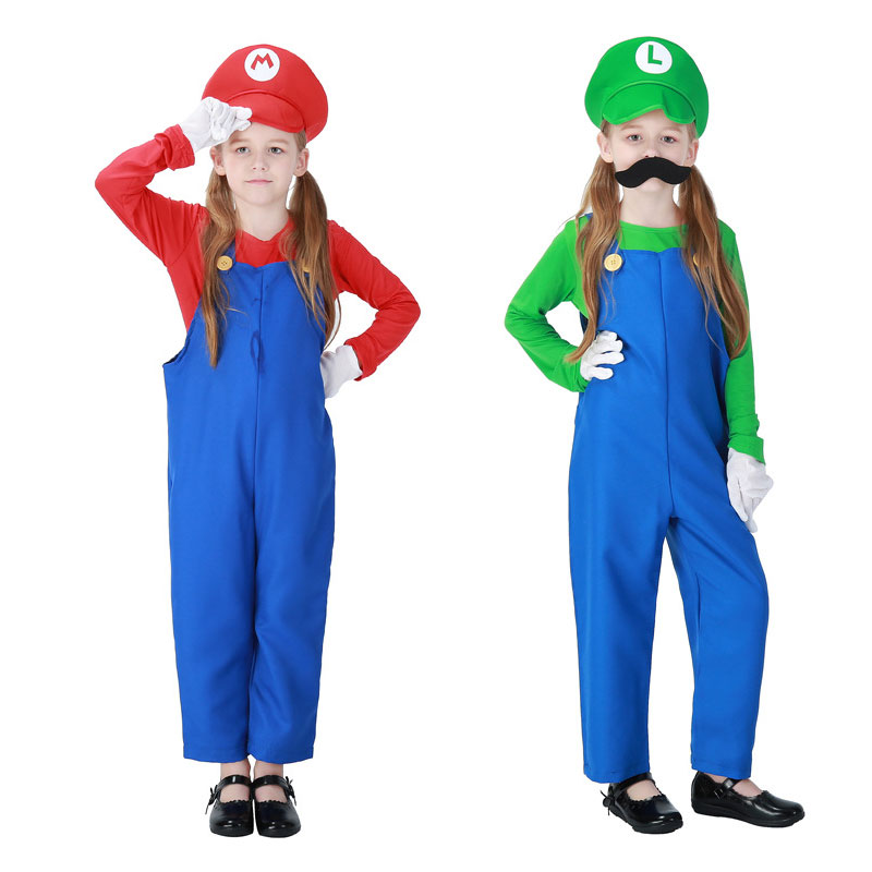 Umorden Halloween Purim Party Costumes Girl Boy Game Super Mario Luigi Costume Jumpsuit For Children Kids Fancy Cosplay