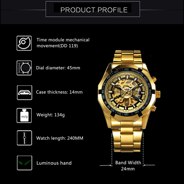 Winner Watch Men Skeleton Automatic Mechanical Watch Gold Skeleton Vintage Man Watch Mens FORSINING Watch Top Brand Luxury 2
