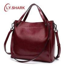 2ed1f7631f82 LY. акула сумка женская натуральная кожа сумочка женская сумка через плечо  женская большая черная сумка мешок кожаные сумки женс.