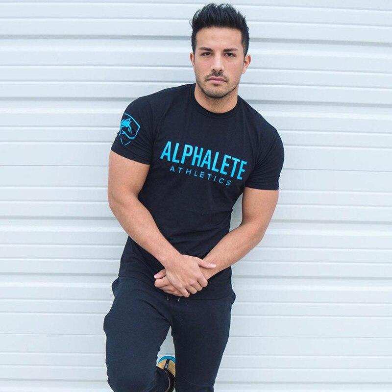 2019 Brand Men Gym Shirt Short Sleeve Fitness Running T-Shirt Training Sportswear Bodybuilding Slim Fit Shirt Mens Gym T Shirt