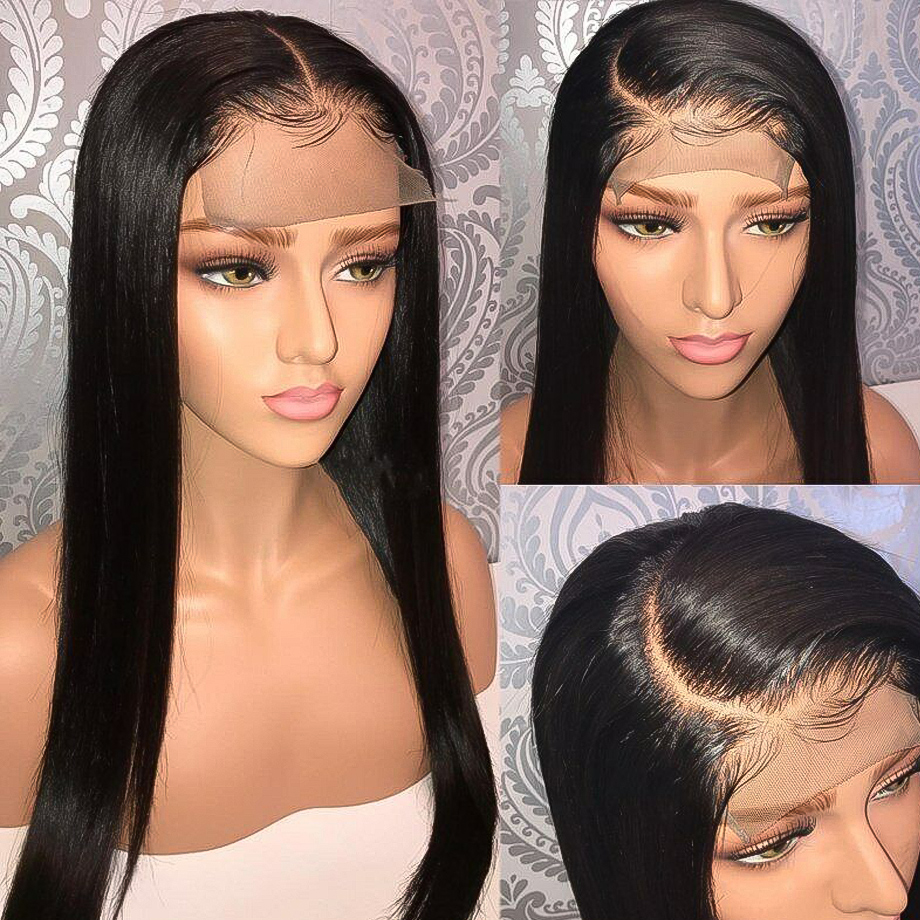 Closure Wig Short Lace Human-Hair Plucked Long-Wig-30inch Remy-Firstwig Black Straight title=