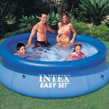 インテックス青色地上スイミングプールファミリー夏子供子供水泳プール魚類 aqua ウォータースポーツ簡単セット