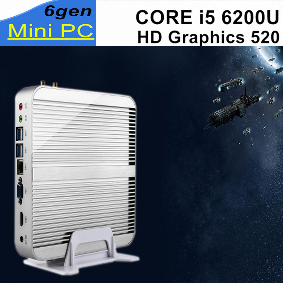 mini pc 6Gen Intel Core i5 6200U Sans Ventilateur De Bureau 4 K HTPC Intel HD