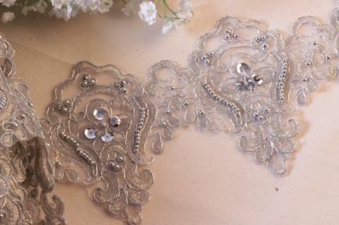 15yard 12cm Beaded Lace Trim Gold Sequin Bridal Veil Embroidery Applique Wedding Dress Accessories AC0225 - CHIC CABINET store