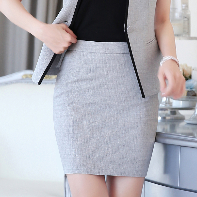 Women Work Wear Pencil Formal Skirts Gray Mini Solid Lady Above Knee