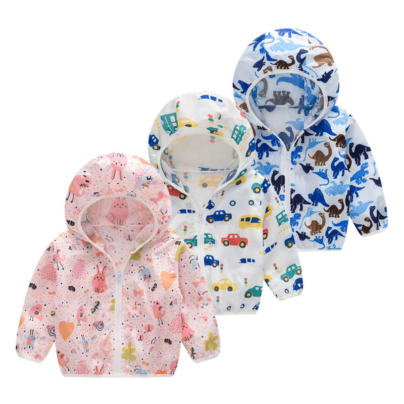 Children's Cute Sun Protection Clothing 2019 New Cartoon Animal Costumes Girls Flower Printed Ultra-thin Breathable Hooded Coat