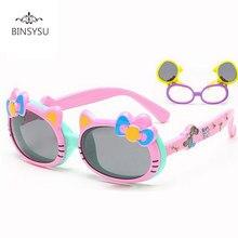 dbe1357054b5d Nova Moda Infantil Gato Bonito Flip Up Óculos Polarizados Crianças bebê Dos  Desenhos Animados Infantil TR90