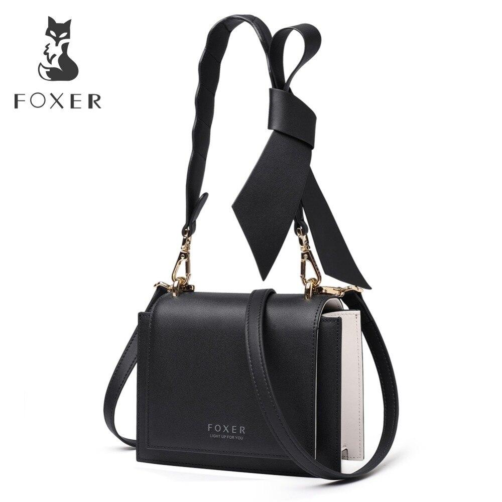 FOXER marque femmes classique mode cuir bandoulière sacs jeune femme solide Messenger sacs femme rabat sac saint valentin cadeau