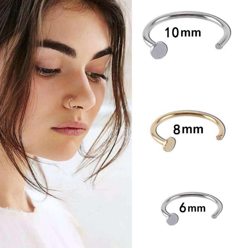 Simple C 1pc venta Acero quirúrgico falso Piercing Stud Sexy en 6/10mm Clip pequeño aro abierto anillo de nariz fino de acero de titanio