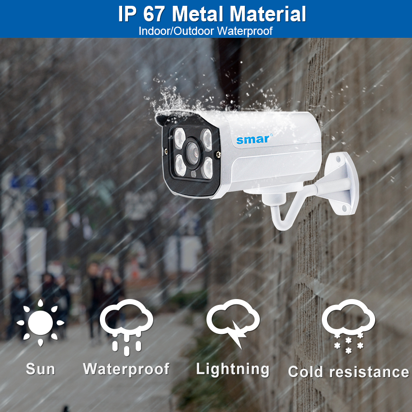 Smar H.265 Surveillance IP Camera 5MP/15FPS 4MP/3MP/25FPS Waterproof Outdoor CCTV Camera With 4PCS ARRAY IR LEDS Email Alert-in Surveillance Cameras from Security & Protection    2