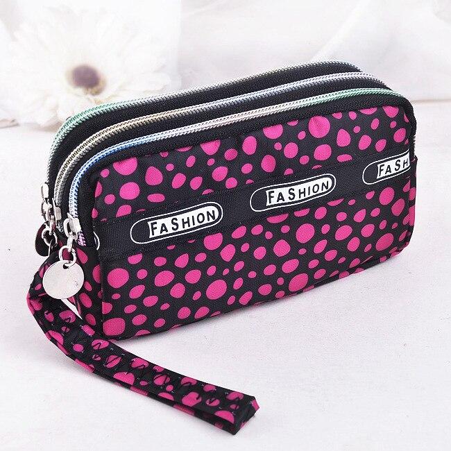 Clutch Wristlet Wallets Handbag Coin-Purse Canvas-Fabric Moneybags Floral-Dot Zipper