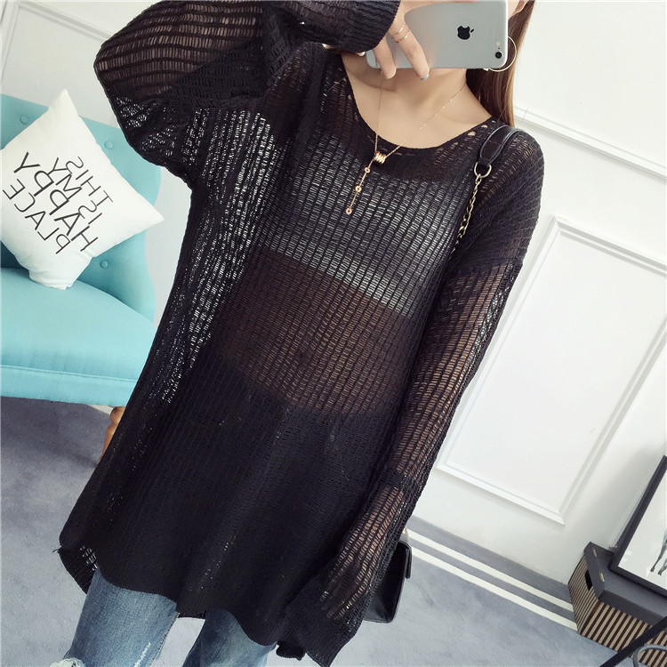 Long Sweaters Loose Pullovers Thin Casual Women New Summer Solid Hollow-Out