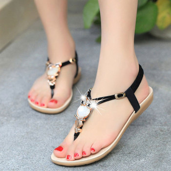2019 fashion Women Sandals rhinestone Comfort inside summer 35-42 Women flip flops shoes flat Beach Sandals plus size women in overalls