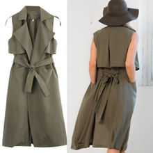 Ladies Double Layerd Long Duster Jacket Womens Sleeveless Waistcoat Belt Blazer Dress  Women Autumn Spring Clothes