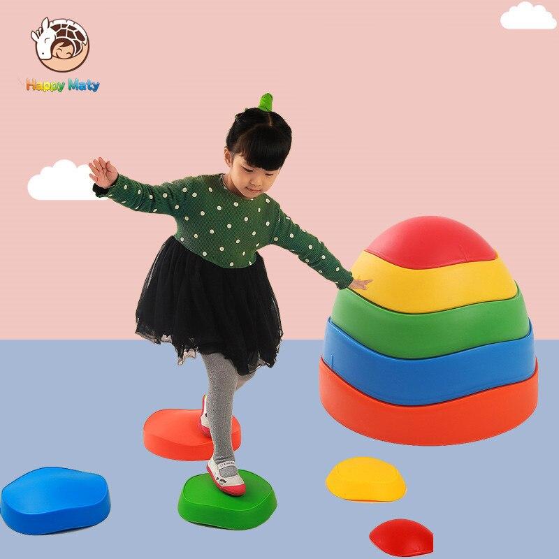 Happymaty Cruzando o Rio Pedra Crianças Do Jardim de Infância Trampolim Balanço Ao Ar Livre Indoor Formação Sports Toy Presente Para Crianças