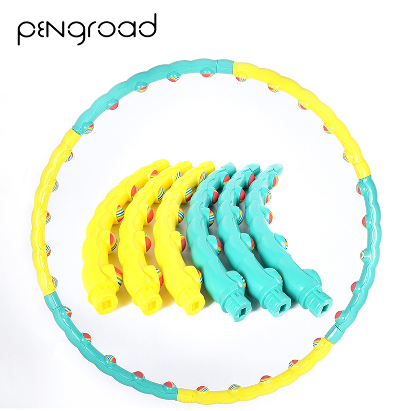 PENGROAD Removable 6 Sections Hard Tube Sports Hoop Rainbow Ball Abdomen Massage Exerise Fitness Hoop Crossfit
