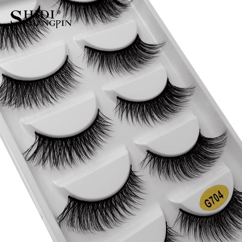 SHIDISHANGPIN 5 pairs eyelashes hand made 3d mink lashes natural long mink eyelashes full strip lashes makeup 3d false eyelashes