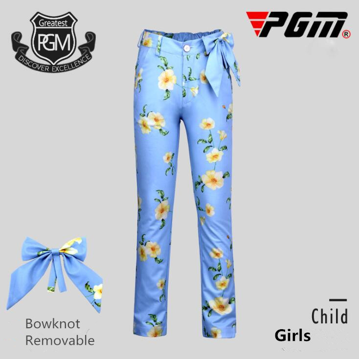 PGM golf childrens Sportswear spring autumn high quality girls golf trousers kids printed Bowknot Removable golf sports pants