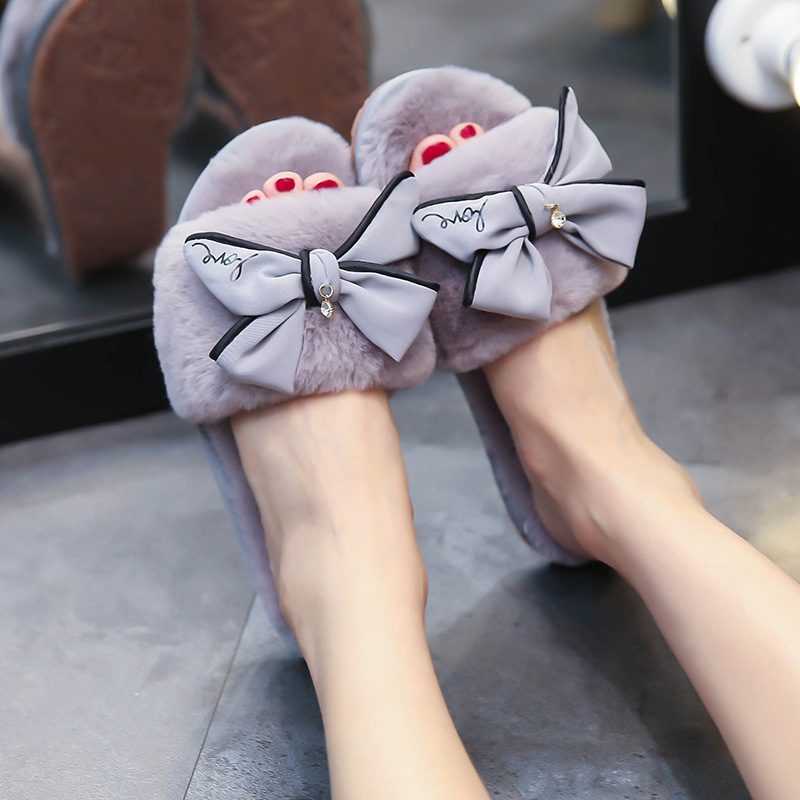 sandals women outside manual big bowknot fashion plush home wearing a word wool shoessandals women outside manual big bowknot fashion plush home wearing a word wool shoes