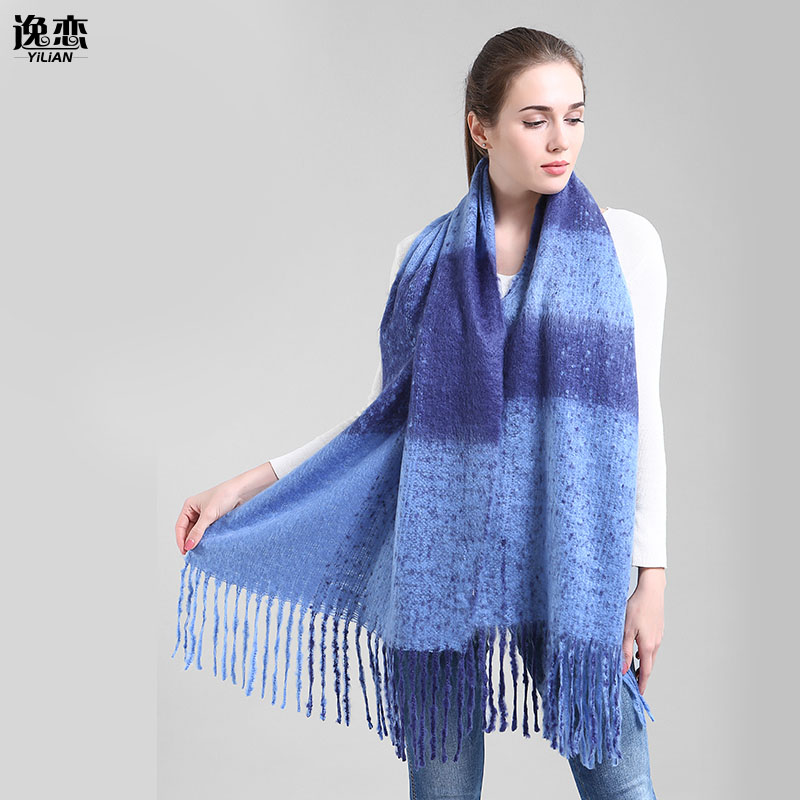 yi lian brand thick winter scarf with tassels