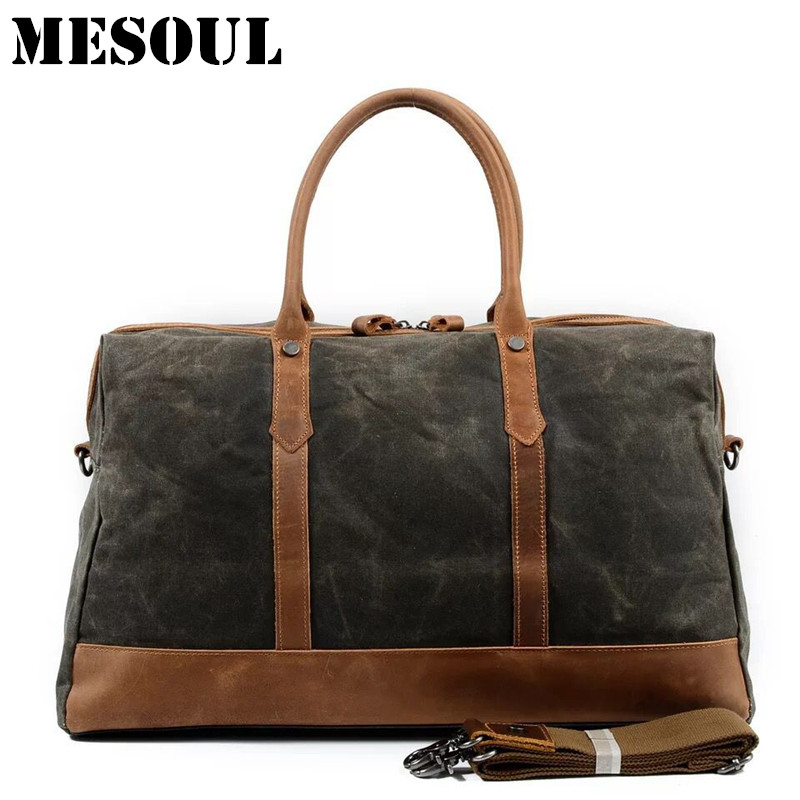 MESOUL Big Travel Duffle Bags Men Large Capacity Leather Canvas Bag Tote High Quality Waterproof Overnight Carry on Luggage Bag augur new canvas leather carry on luggage bags men travel bags men travel tote large capacity weekend bag overnight duffel bags