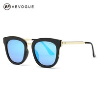 AEVOGUE Originele Zonnebril Vrouwen Nieuwste Luxe Merk Designer Legering Tempel Platte Lens Zonnebril Vintage Met Doos UV400 AE0388