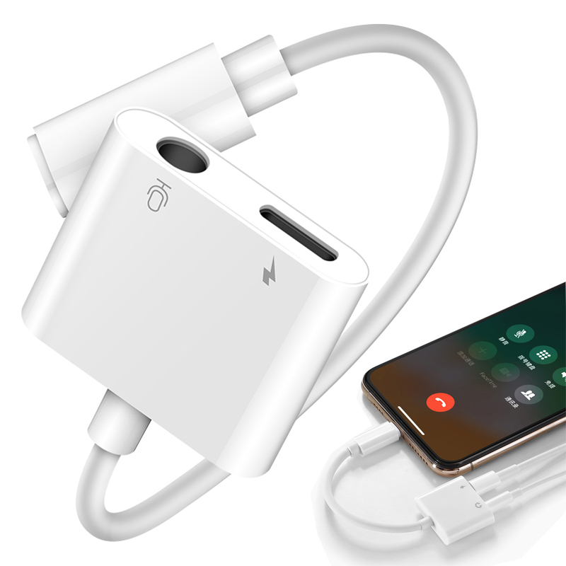 2 In 1 Charger Adapter For Iphone 8 8 Plus 7 Charging Adapter 3.5mm Jack Headphone AUX Splitter For Iphone XS MAX XR Phone Cable
