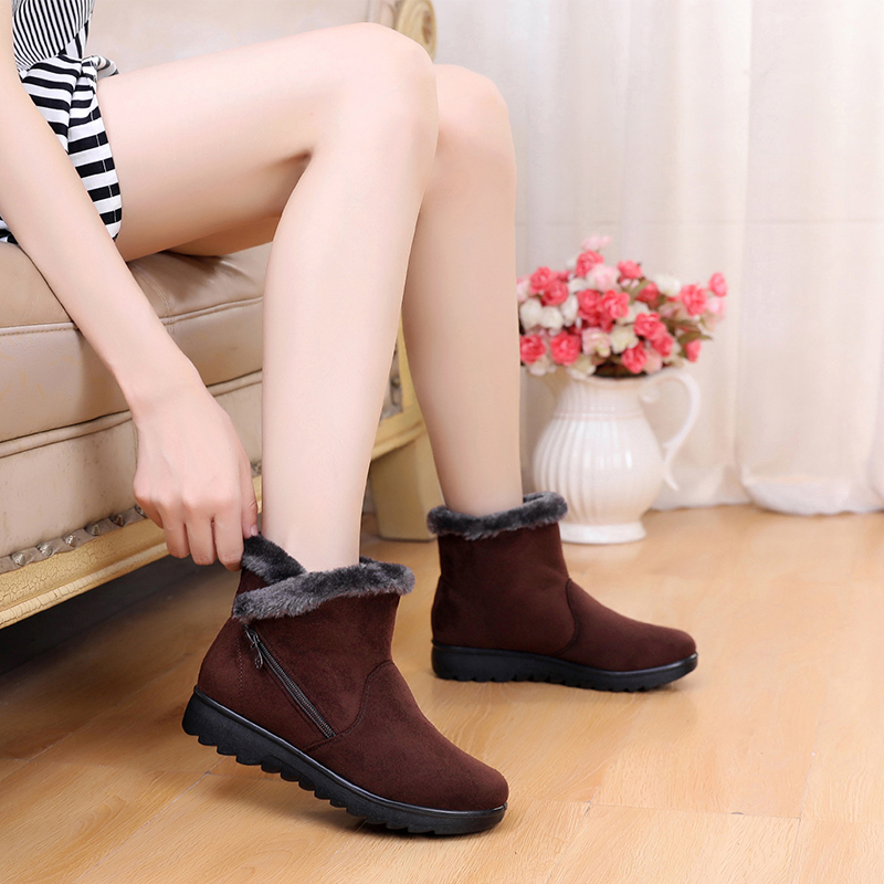 Winter Women Ankle Boots New Fashion Flock Wedge Platform Winter Warm Red Black Snow Boots Shoes For Female Plus Size 40 41 brand winter thick red boots fashion snow boots for women fur shoes ankle boots girls platform shoes women flats plus size 40