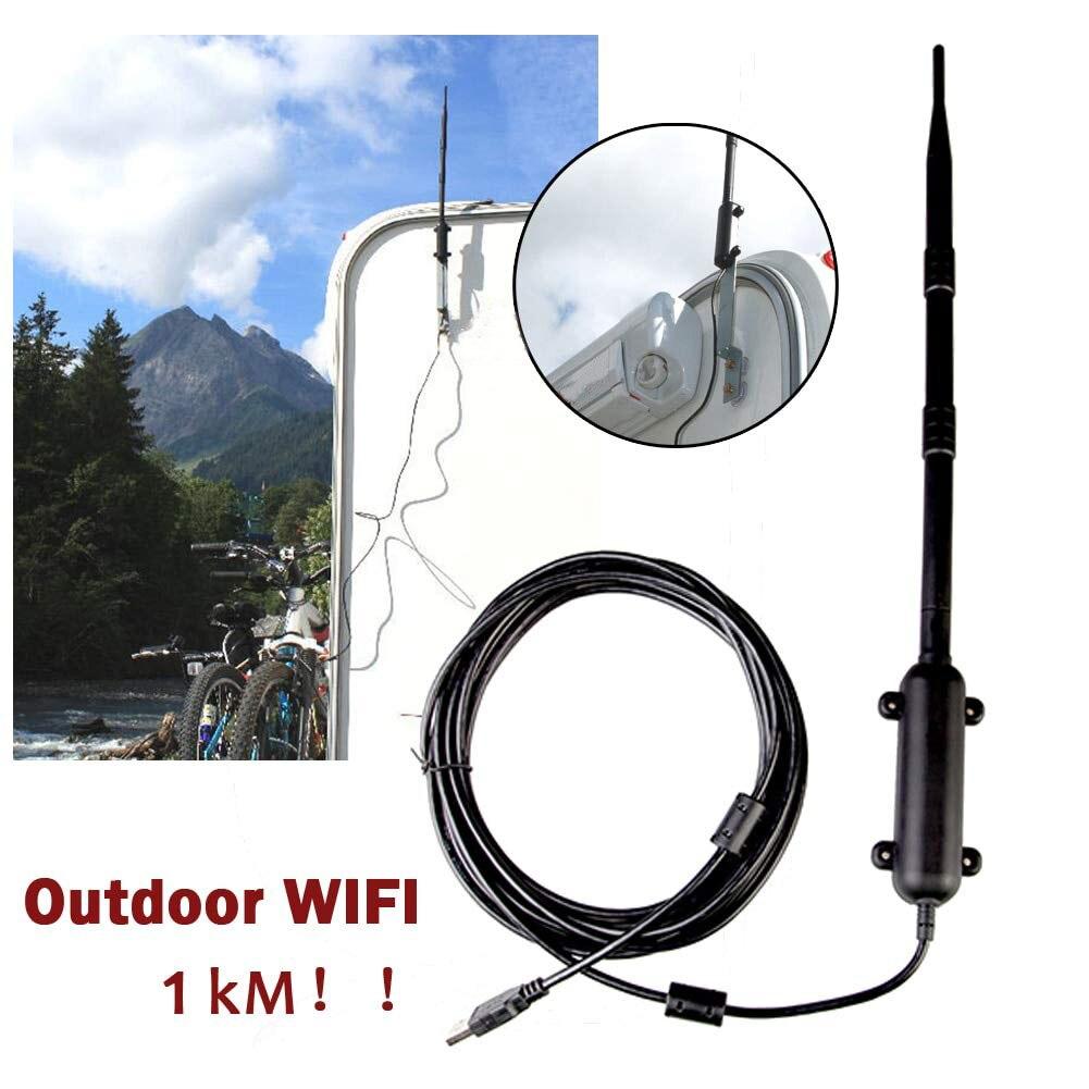 1 KM WiFi antenne 802.11b/g/n amplificateur de Signal extérieur Wifi USB AdapterUSB 2.0 récepteur de carte réseau sans fil