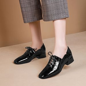 Image 5 - ALLBITEFO natuurlijke echt leer leisure hoge hak schoenen mode dames vrouwen hakken casual lente herfst meisje hoge hakken