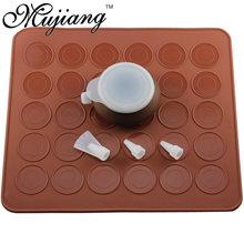 Mujiang capacidade de 30 buracos silicone macaron kit decoração piping pot pastelaria cozimento esteira natal cozinha sobremesa bakeware ferramentas