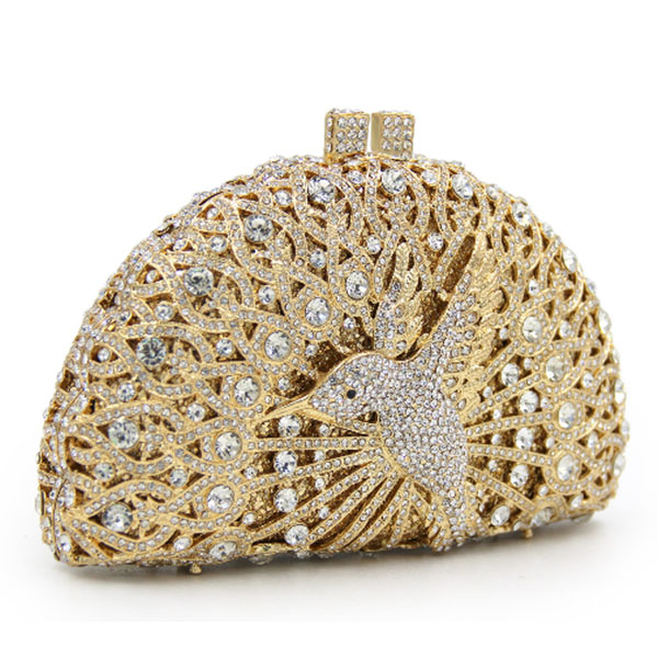 Hollow bird diamond gold Day Clutches Luxury Women's Mini Pearls Beaded Evening Bags Crystal Clutch Bags Bridal Wedding purse bird patch purse