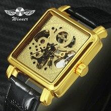 WINNER Women Watches Golden Mechanical Top Brand Luxury Ladies Wristwatch Skeleton Square Dial Clock Gift for Girlfriend