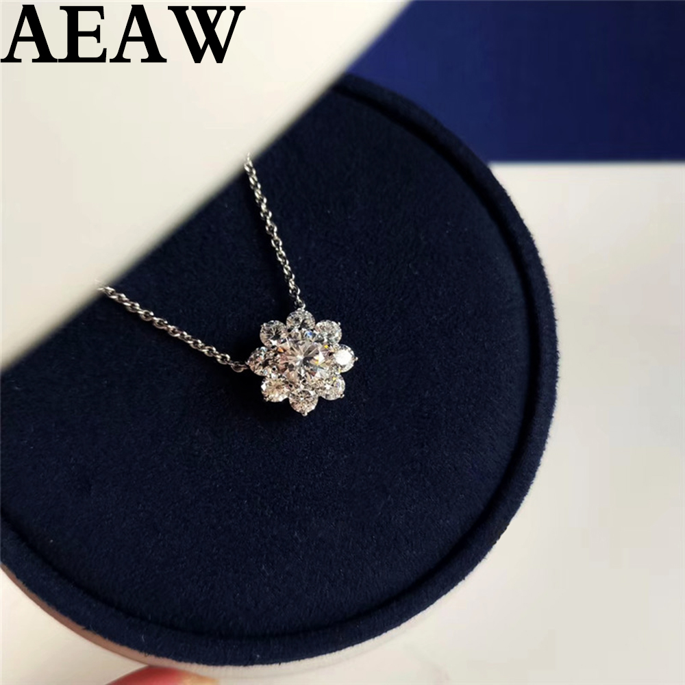 AEAW 4mm VS1 DEF Round Cut 14K White Gold Moissanite Pendant With 14K Gold Chain Necklace
