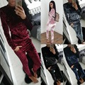 Women 's 2017 autumn and winter fashion velvet suit leisure sportswear long - sleeved solid color round neck women' s suits