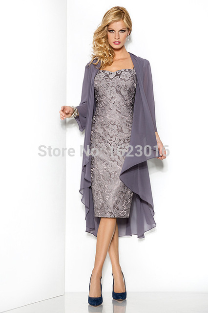 2017 Mother Of The Bride Dresses Sheath Cap Sleeves Knee Length Silver Lace  Brides Mother Dresses 7717b725f1dc