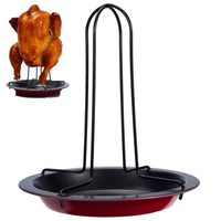 Durable Upright Vertical Chicken Roasting Poultry BBQ Roaster Tray Pans Rack Bowl Baking Cooking Barbecue For