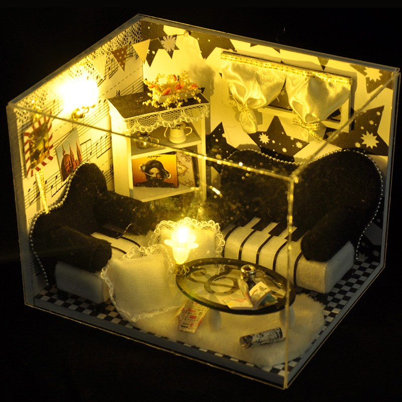 New Puzzes Furniture Kits DIY Wood Dollhouse Miniature Puzze Toy LED Furniture Toys Cover Doll House Room HB For Model Building