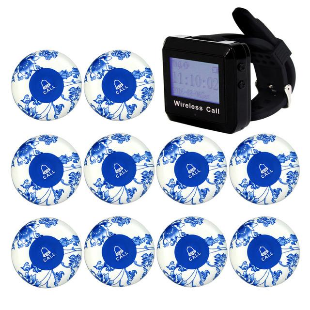 Equipamentos de Restaurante Pager Chamada sem fio Sistema de Botão com Caller Receptor de Pulso + 10 pcs Chamar Botão do Transmissor 433 MHz F3254L