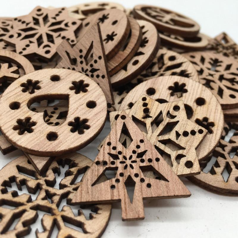 50 шт. естественные необработанные деревянные ломтики круглые деревянные вырезы готов к окраситься и украшенные 30 мм (с разными рисунками)
